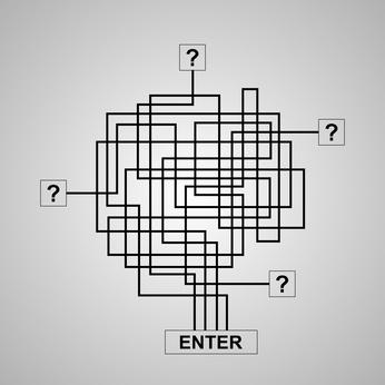 Four way maze or labyrinth